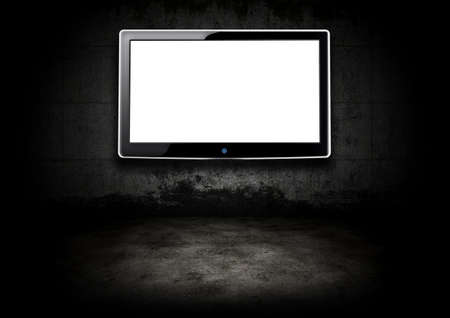 Flat screen television in a dark room