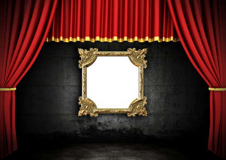 tableau curtains: Red Stage Theater Drapes and Golden frame in a dark room
