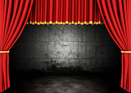 classical theater: Red Stage Theater Drapes and dark room