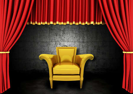 tableau curtains: Red Stage Theater Drapes and Golden armchair in a dark room Stock Photo