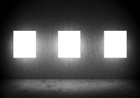 concrete room: Blank frames in a dark Concrete room