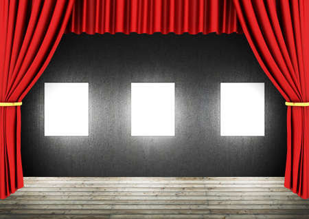 tableau curtains: Red Stage Theater Drapes and blank frames in a dark room