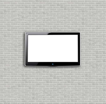 Brand new white apartment building wall with TV photo