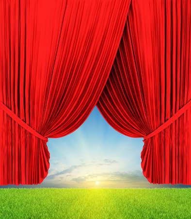 Theater curtain illustration with nature illustration
