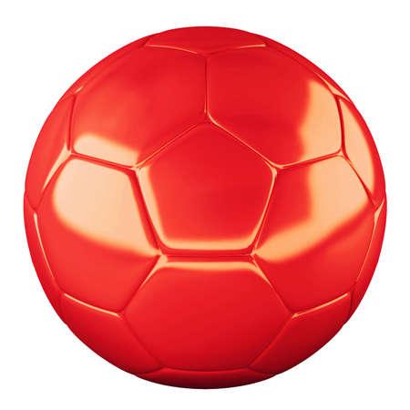 pelotas de deportes: Pelota de f�tbol rojo aislado en fondo blanco