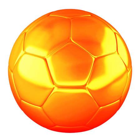 Orange shine soccer ball isolated on white background photo