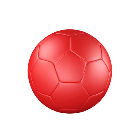 Red soccer ball isolated on white background