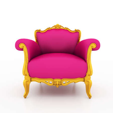 Large image Resolution of Classic glossy pink armchair with golden details, isolated on a white background