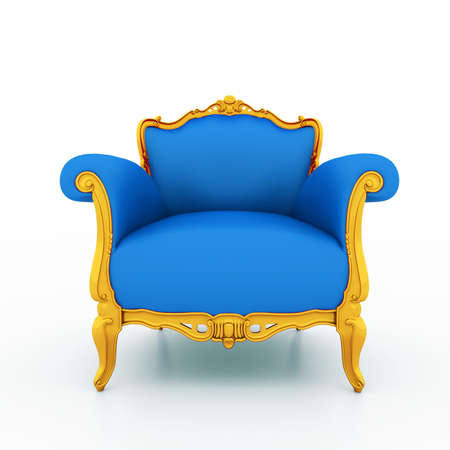 Large image Resolution of Classic glossy blue armchair with gold details, isolated on a white background photo