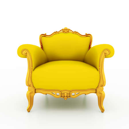 Large image Resolution of Classic glossy yellow armchair with gold details, isolated on a white background
