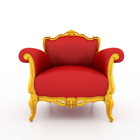 Large image Resolution of Classic glossy red armchair with gold details, isolated on a white background