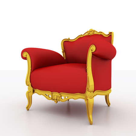 stylish chair: Large image Resolution of Classic glossy red armchair with golden details, isolated on a white background