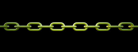 Linked Green shine chain curve on black background Stock Photo - 7949982