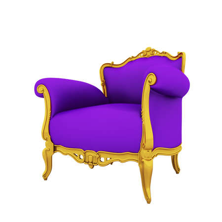Large Image Resolution Of Classic Glossy Purple Armchair With Golden  Details, Isolated On A White