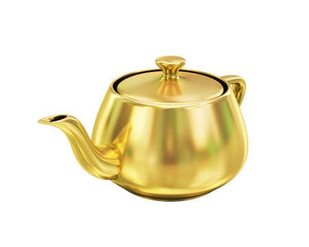 Golden teapot on white background photo
