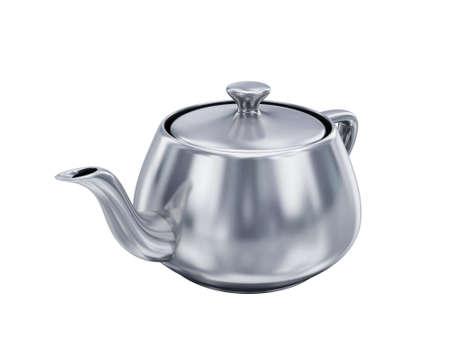 Iron teapot on white background photo