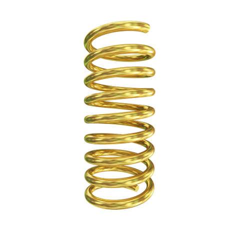 coil: 3d render of golden spring on white