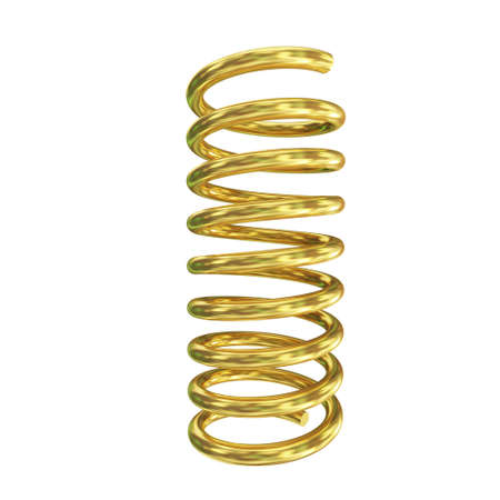 bobina: procesamiento 3D de la primavera dorada sobre fondo blanco