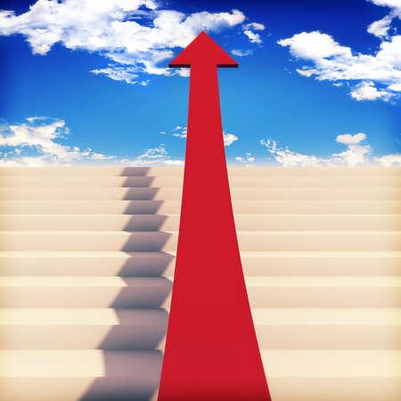 sig: Las escaleras de �xito con cielos  Foto de archivo