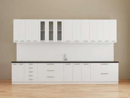 kitchen worktop: Modern empty kitchen in white Stock Photo
