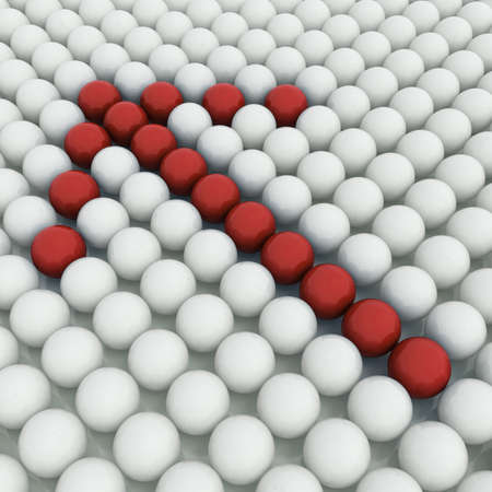 White 3D balls with red ones forming an arrow photo