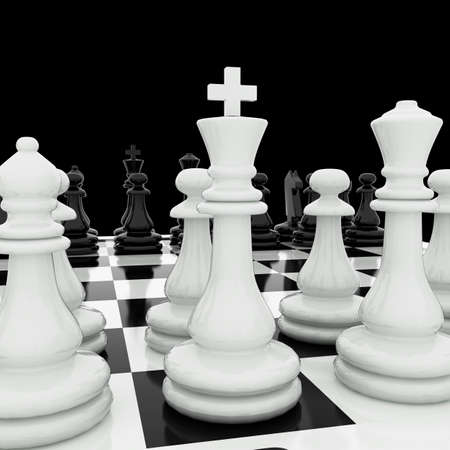 Chess pieces on a chess board photo