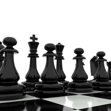 3d chess board: Chess pieces on a chess board