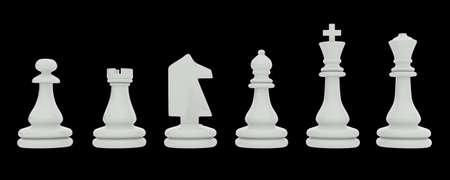 White chess pieces isolated on black background photo