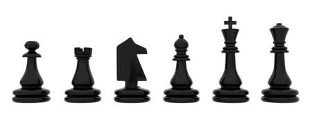 Black chess pieces isolated on white background