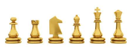 one piece: Golden chess pieces isolated on white background
