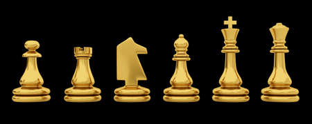 Golden chess pieces isolated on black background photo