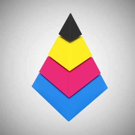CMYK pyramid - 3d render  photo