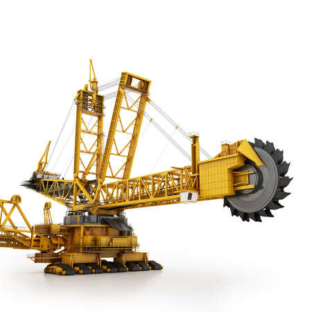 coal mine: Bucket wheel excavator isolated on white Stock Photo