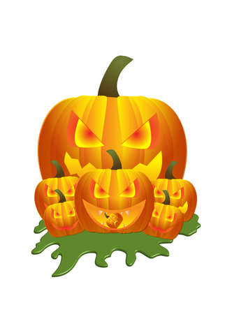 Scary pumpkin isolated on white background Illustration