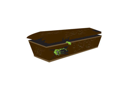 casket: Zombie Casket Isolated on white background
