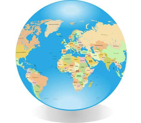 Glossy detailed globe isolated on white background
