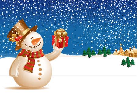 weihnachten zweig: Netter Schneemann am Weihnachtstag Illustration