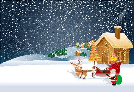 Santa Claus on Christmas eve Illustration