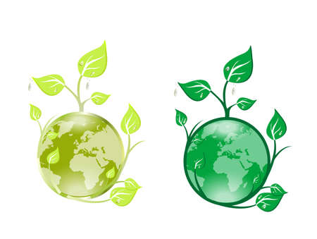 Green globe with plant isolated on white background Illustration
