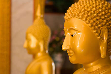 Buddha inside Wat Chalong temple  in Phuket, Thailand