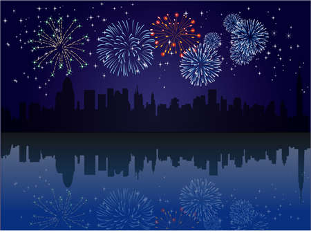 City skyline at night with fireworks and reflection Illustration