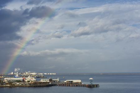 Rainbow over Port Angeles, WA harbor