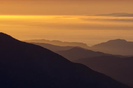 Sunset over Olympic Mountains & Strait of Juan de Fuca