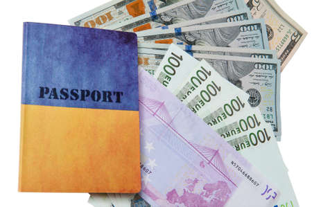 Passport and money. Travel expenses concept uncropped on white background. Money from different countries.