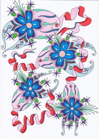 abstrait: motif abstrait quatre bleu