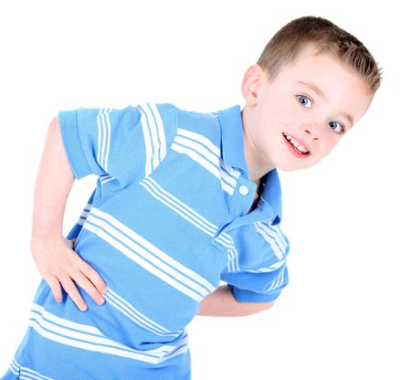 Cute boy with hands on hips isolated on white