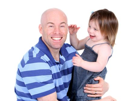 Handsome father with cute daughter sharing a laugh Stock Photo - 7623095
