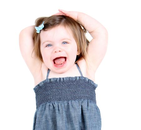 Cute toddler girl shouting  Stock Photo