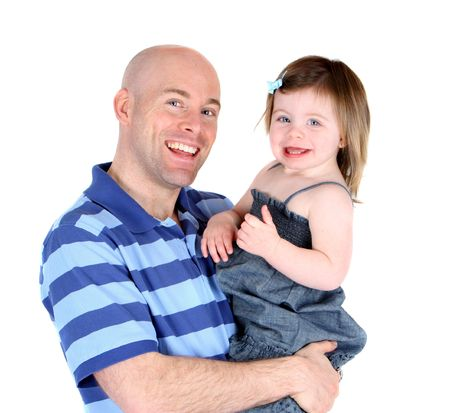 Handsome father with pretty daughter sharing a smile Stock Photo - 7623106