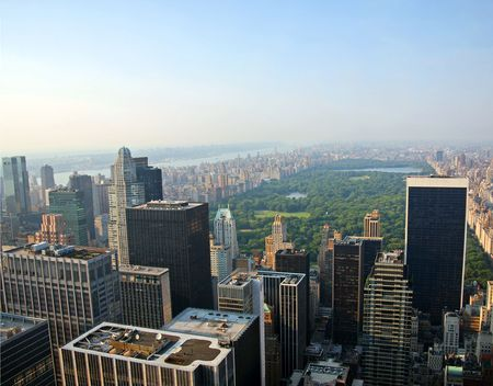 View of Central Park in New York City on a hazy summer day Stock Photo
